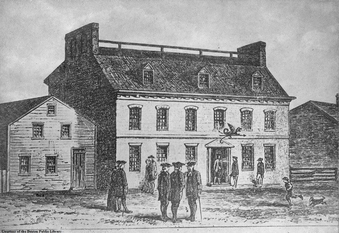 Historic black and white drawing of a two story tavern with men talking outside.