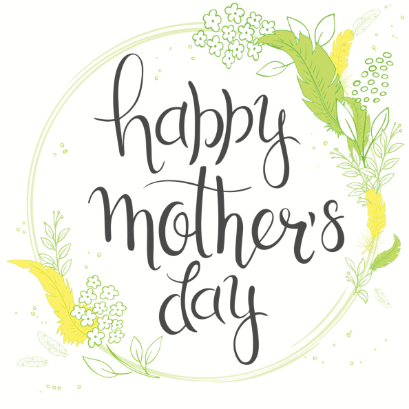 mothers day lettering with branches, swirls, flowers and quote